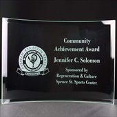 Community Achievement Award, engraved in self-supporting glass plaque.