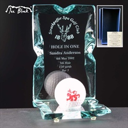 Bespoke engraved Hole in One Golf Prize.