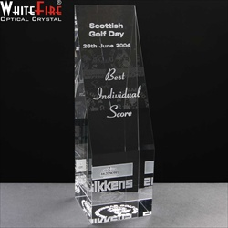Best Individual Score Golf Prize. Engraved crystal block.