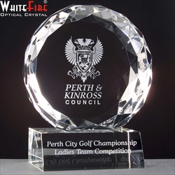 """Glen Afric"" engraved crystal Corporate Golf Day Prize."