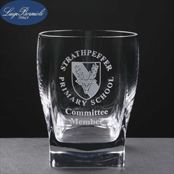Whisky Glass, engraved for School Gift.