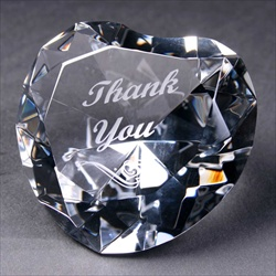 "Crystal Heart, engraved ""Thank You"". Present for Teacher."