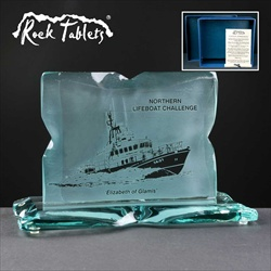 """Rock Tablet"" Corporate Trophy for a Lifeboat Challenge."