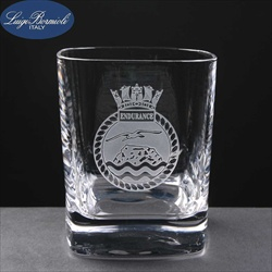 Engraved glass tumbler, for a promotional gift.