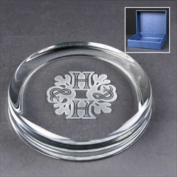 Glass Paperweight, engraved for Corporate body, boxed.