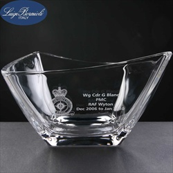 Italian Crystal Fruit Bowl. Engraved Leaving Gift.
