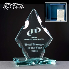 Engraved glass Employee of the Year Award.