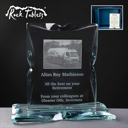 """Rock Tablet"" plaque, engraved for a man's retirement gift."