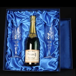 Champagne & two engraved Flutes for a Retirement Gift.