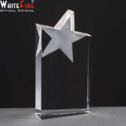Wedge shape crystal star award, engraved.