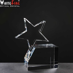 Single Star on block of crystal. Star Award.