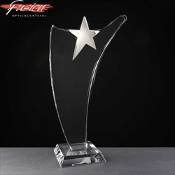 Crystal Award with Chrome Star. For engraving.