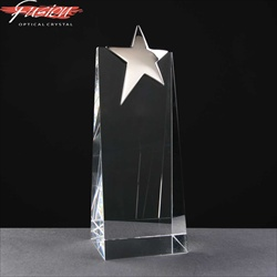 Crystal block Award with chrome star. For engraving.