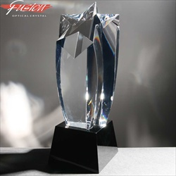 Black & clear crystal star award, for engraving.