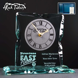 Glass Clock, engraved for Corporate Prize.