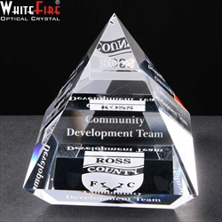 Engraved crystal Corporate Prize for community work.