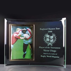 Etched, or engraved curved glass photoframe.