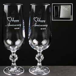 Printed Glass Champagne Flutes, for Anniversary, Birthday or Wedding.