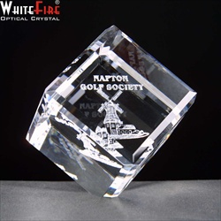 Personalised Crystal balancing cube, for Golf Society.