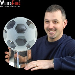 Glass Football, full size, on base, engraveable.
