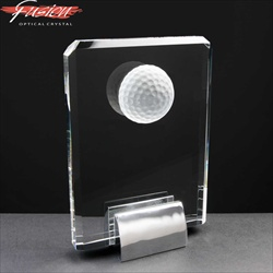 Crystal Golf Ball Plaque, engraved for Golf Prize.