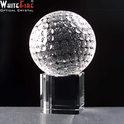 Crystal Glf Ball on Block for engraving.