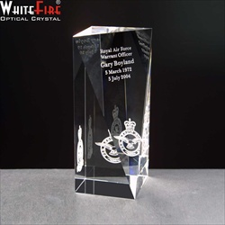 Engraved Optical Crystal Block for Military Trophy.