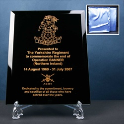 Engraved Black Glass Mirror Plaque for Military presentations.