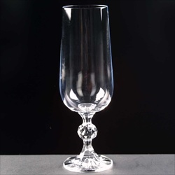 Navy Champagne Flute Glass, for engraving or printing.