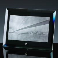 Black Mirror 12mm Bevel Plaque 8x6 inch, Single, Satin Boxed