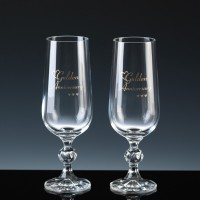 Crystal Gifts 6oz Champagne Flutes Golden Anniversary, Pair, Silver Boxed