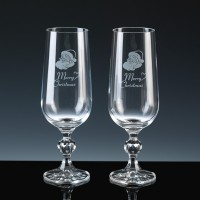 Crystal Gifts 6oz Champagne Flutes Merry Christmas, Pair, Silver Boxed