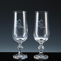 Crystal Gifts 6oz Champagne Flutes Mum Dad, Pair, Silver Boxed