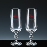 Crystal Gifts 6oz Champagne Flutes Ruby Anniversarry, Pair, Silver Boxed