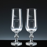 Crystal Gifts 6oz Champagne Flutes Silver Anniversary, Pair, Silver Boxed