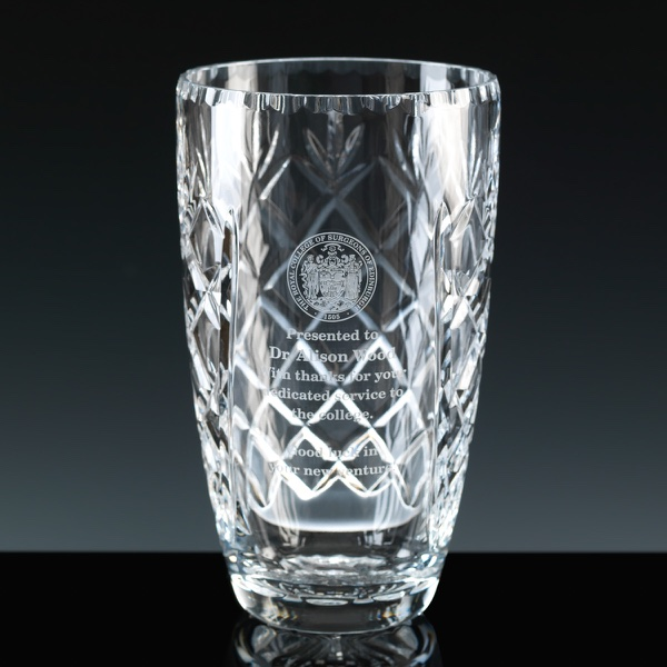 Earle Range Panelled 24% Lead Crystal 7.5 inch Vase, Single, Satin Boxed