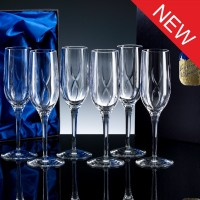 Inverness Crystal Elite Panelled 24% Lead Crystal 6oz Champagne Flute, Set of 6, Satin Boxed