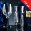 Elite Panelled Lead Crystal 10oz Wine Glass and Beer Glass, Set, Satin Boxed