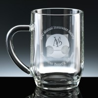 Haworth Heavy Glass 1pt Beer Tankard, Single, Blue Boxed