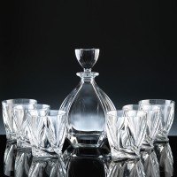 Modern Laguna Decanter & 6 Tumblers Whisky Set, Single, Gift Boxed