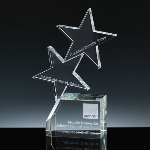 Optical Crystal Award 8 inch Star Block, Single, Velvet Casket