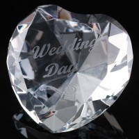 Optical Crystal 2.25 inch Engraved Heart Wedding Day, Single, Blue Velvet Lined Casket